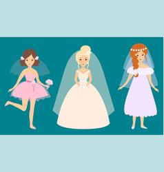 wedding brides characters vector image vector image