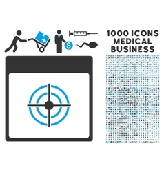 Bullseye Calendar Page Icon With 1000 Medical vector image vector image