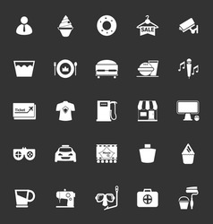 Franchisee business icons on gray background vector