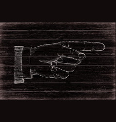 hand with pointing finger retro styled vector image
