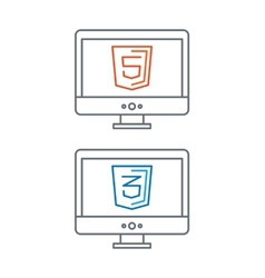 line of web development icons html vector image vector image