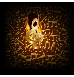 musical background fire break with a treble clef vector image