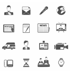 News icons black vector image vector image