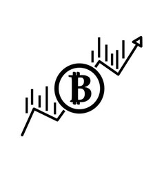 contour financial arrow up to bitcoin currency vector image