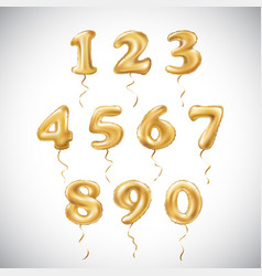golden number metallic balloon party decoration vector image vector image