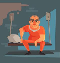 prisoner man character prison vector image