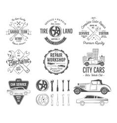 Vintage car service badges garage repair retro vector image