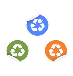 3 color recycling Stickers vector