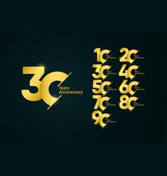 30 years anniversary set celebrations gold yellow vector
