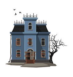 abandoned majestic mansion with creepy tree and vector image