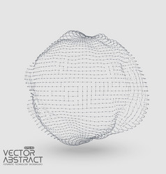 Abstract mesh distorted sphere constructed vector
