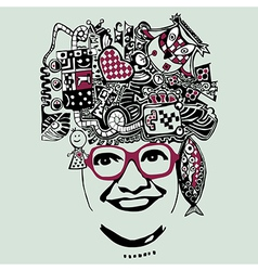 Abstract smiling woman in glasses e vector