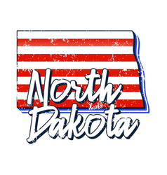 American flag in north dakota state map grunge vector