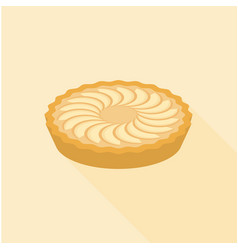 apple pie in flat design with long shadow vector image