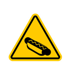 attention hot dog dangers of yellow road sign vector image