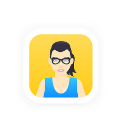 avatar icon in flat style girl in glasses vector image
