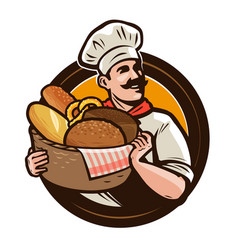 Bakery bakehouse logo or label baker with a vector