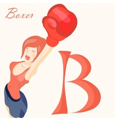 beautiful girl in boxing gloves alphabet abc vector image