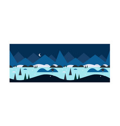 beautiful winter landscape at night snowy nature vector image