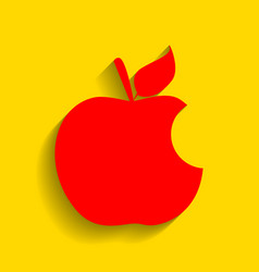 bite apple sign red icon with soft shadow vector image