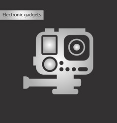 black and white style icon camcorder vector image