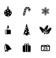 black christmas icons set vector image