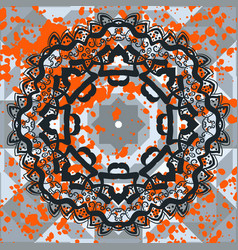 Black lines symmetric mandala vector