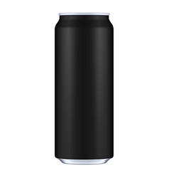 Black metal aluminum beverage drink can 500ml vector