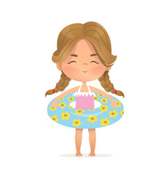Brown hair girl stay in inflatable circle child vector