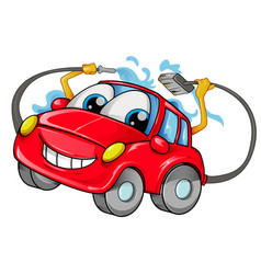 car wash mascot cartoon isolated on white vector image