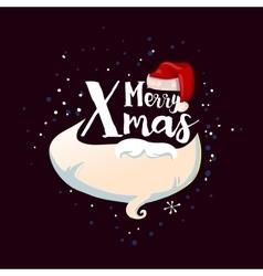 Card with Santa hat beard and snow vector image