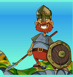 cartoon man in knight armor stands on a rock by vector image