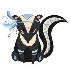 cartoon skunk indian a vector image