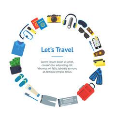 cartoon vacation and travel banner card circle vector image