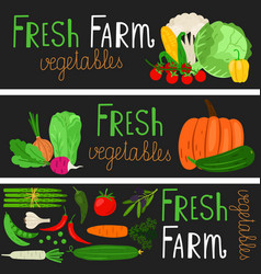 cartoon vegetables banners vector image
