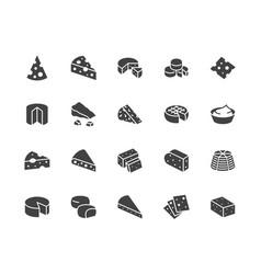 Cheese flat glyph icons set parmesan mozzarella vector