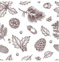 Christmas seamless pattern winter fir and pine vector