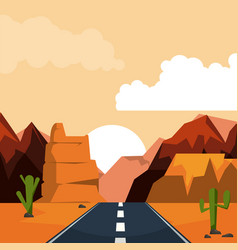 Colorful background of desert sunset landscape vector