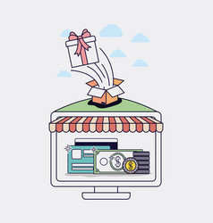 computer with parasol and ecommerce icons vector image