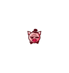 cool pig logo icon vector image