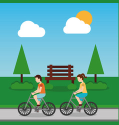couple riding bicycle in park with bench tree sky vector image