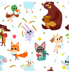 Cute adorable animals character eating different vector