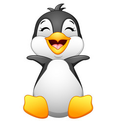 cute baby penguin posing isolated on white backgro vector image