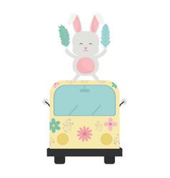 Cute rabbit in van hippie boho style vector