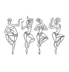 Dancing woman in ethnic style vector