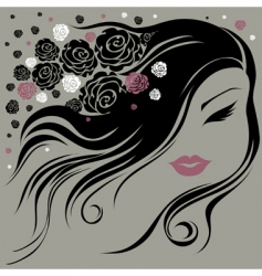 decorative vintage woman with flowers vector image