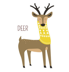 Deer in scarf childish cartoon book character vector