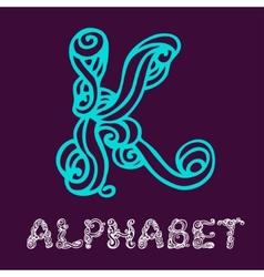 Doodle hand drawn sketch alphabet Letter K vector