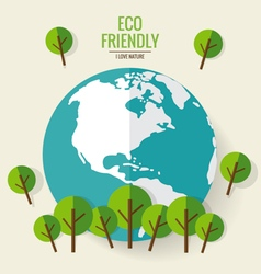 ECO FRIENDLY Ecology concept with globe and tree vector image