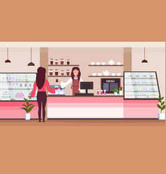 female barista coffee shop worker serving woman vector image
